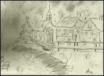 Winterdorf - Kohlezeichnung von Ara